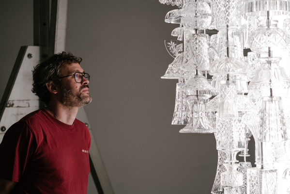 Against the Grain exhibition_Jan Hendzel with the Stuart Haygarth ICICLE (Stem)_(c) George