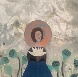 "Blue Lotus Dress, 48""x 60,"" oil and beeswax on panel, Jeni Stallings, 2021."