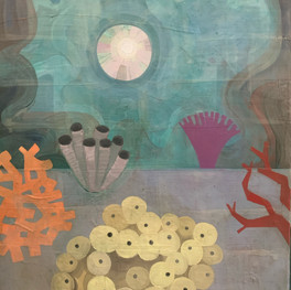 """Salty Garden, 30""""x40,"""" oil and beeswax on panel, Jeni Stallings, 2021."""