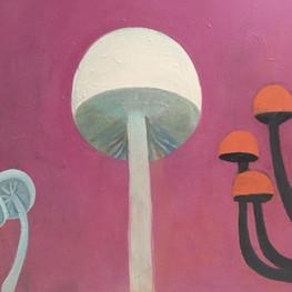 "Mushrooms in Pink, 40""x30,"" oil on panel, Jeni Stallings, 2021."