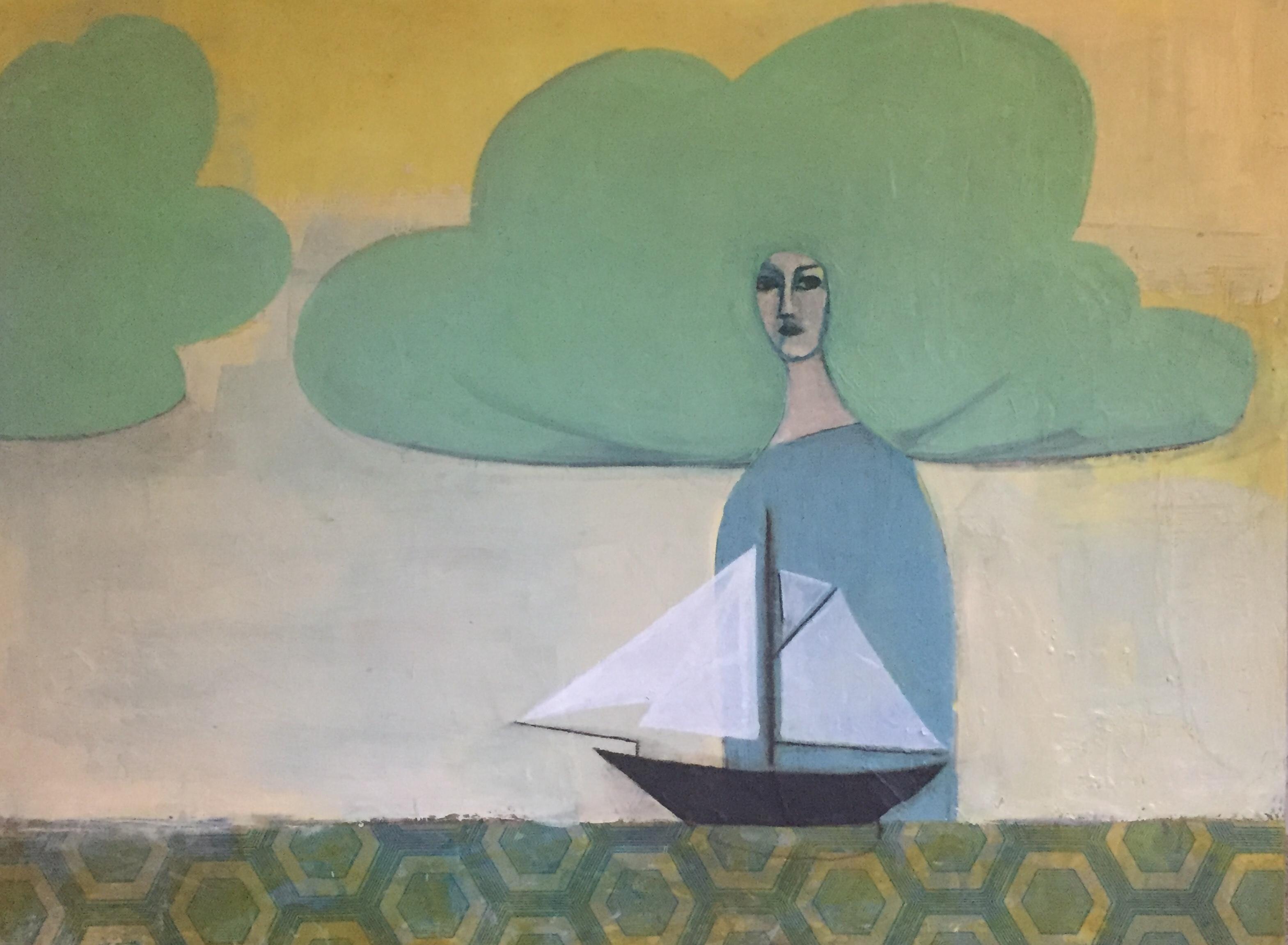 Head in the Clouds, encaustic, oil, enca