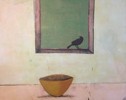 Bird and Bowl, 48_x60,_ oil and encausti