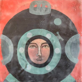 """Diver II, 10""""x10,"""" oil and beeswax on panel, Jeni Stallings, 2021."""