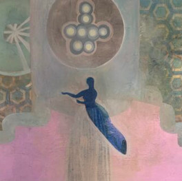 """Flying-Dream, 60""""x 48,"""" oil and beeswax on panel, Jeni Stallings, 2021."""