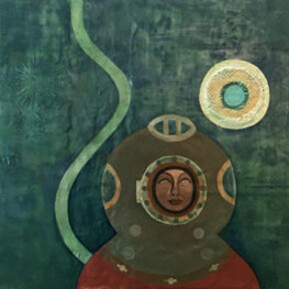 """Diver I, 36""""x48,"""" oil and beeswax on panel, Jeni Stallings, 2021."""