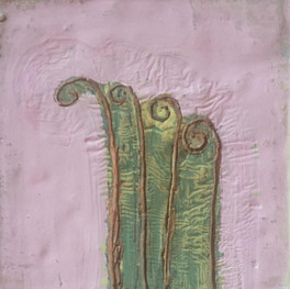 """Purple Fronds, 5""""x5,"""" oil and beeswax on board, Jeni Stallings, 2021."""