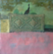 Quail Pen, 24_x24,_ oil, encaustic, coll