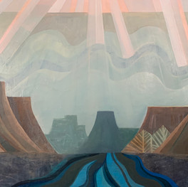"""Dream Canyon, 60""""x 48,"""" oil and beeswax on panel, Jeni Stallings, 2021."""