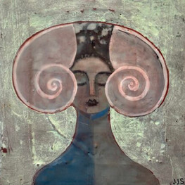 """She Shell, 10""""x10,"""" oil and beeswax on panel, Jeni Stallings, 2021."""