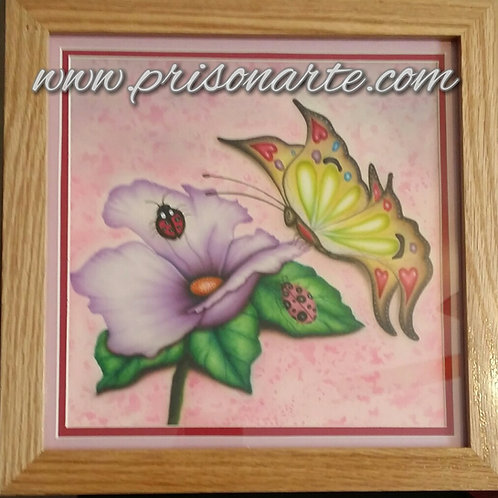 Flowers with Butterfly on Glass - Artist Quijada