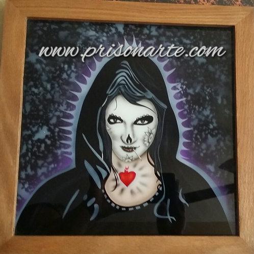 Santa Muerte on Glass - Artist Quijada