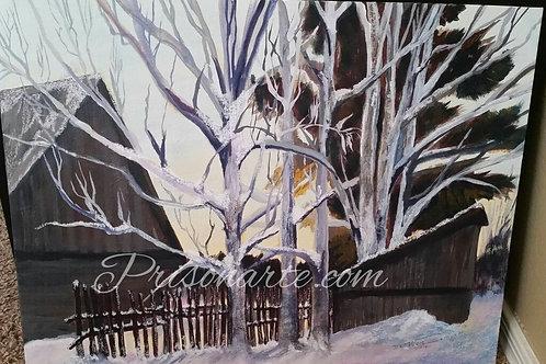 """Barn in Winter - Artist """"Walker"""""""