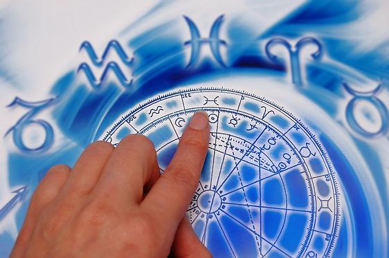 Astrologen tolker et horoskop