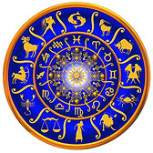 Horoskop med de 12 stjernetegn i Zodiaken eller Dyrekretsen