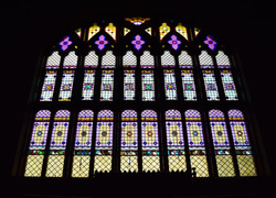 Stained glass window on the balcony.