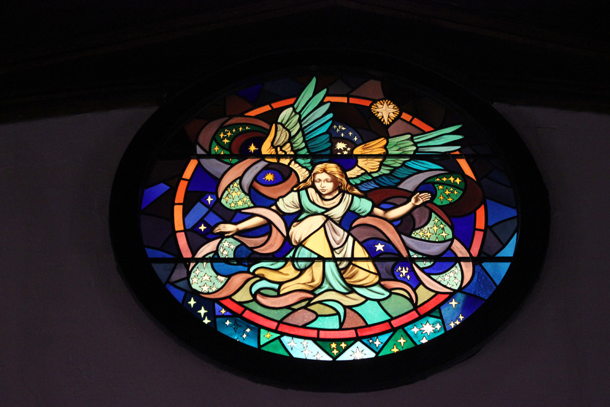 Small stained glass window.