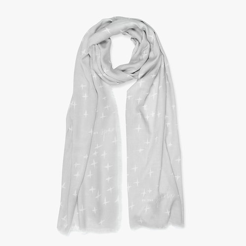 Katie Loxton Sentiment 'Be the Sparkle'  Grey and White Scarf