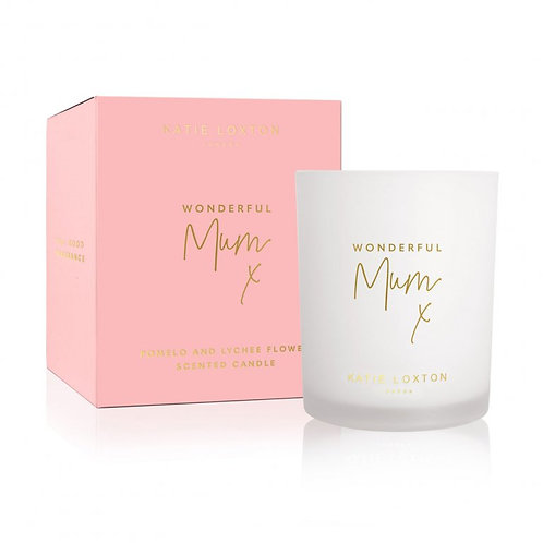 Katie Loxton 'Wonderful Mum' Candle- White Orchid and Soft Cotton