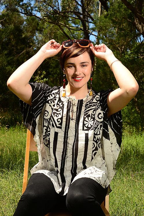 ISLAND BATIK BATWING PONCHO DRESS 100% COTTON