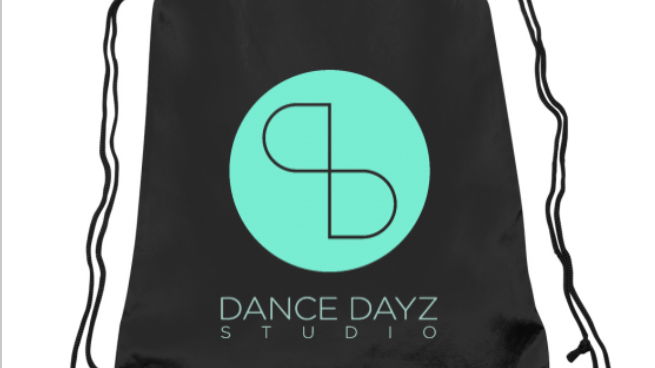 Dance Dayz Turquoise on Black Drawstring Backpack