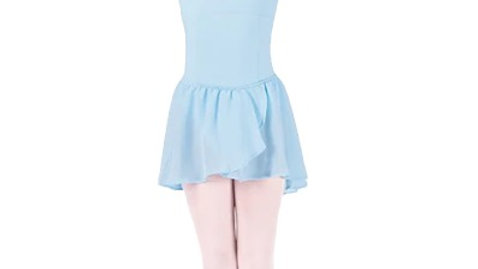 Girls Basic Georgette Mock Wrap Skirt - Pastel Blue