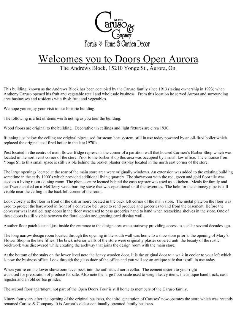 Welcome to Doors Open Aurora 2006