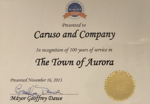 Recognition of 100 years in business