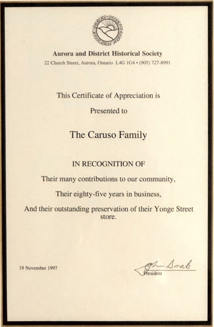 Recognition of 85 Years in business