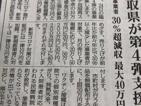 鳥取県が第4弾コロナ禍打破応援金を。