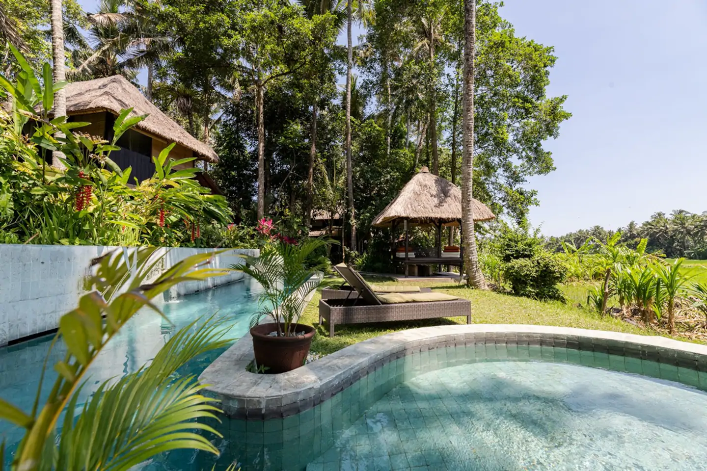 Poolside to the ricefields