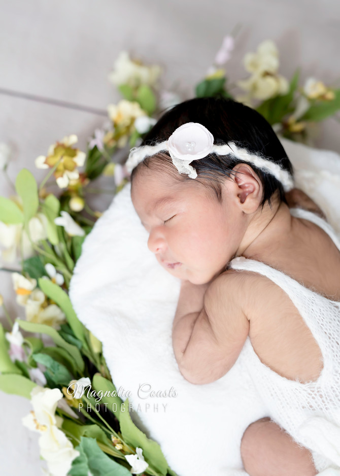 Toronto West / Mississauga East Photographer | Baby Siara in a Bed of Flowers | Newborn