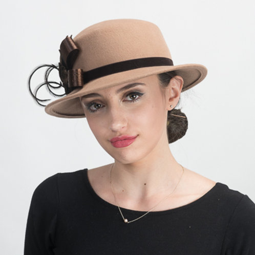 Feather Ribbon Bow Wool Felt Hats
