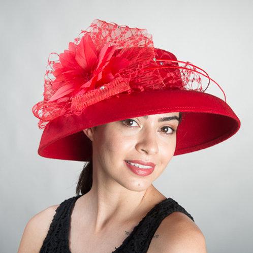Veiled Feather Dome shape Felt Hats