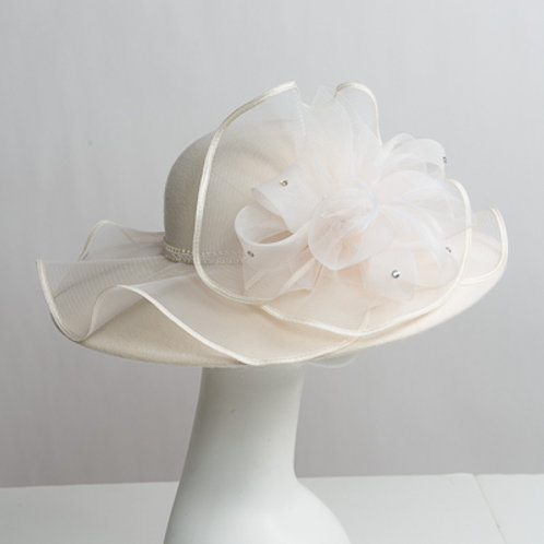 Ruffle Crin Trim Felt Swinger Hats