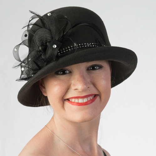 Crinoline Bow Felt Cloche Hats