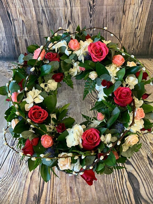 Mixed Flower Funeral Wreath Ring Example 1 Free delivery from the flower shop kirton