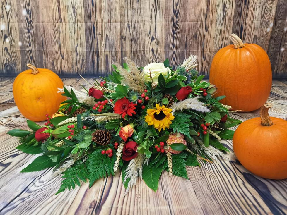 Bespoke Single Ended Coffin Spray Funeral Flower Tribute Example 3.jpg