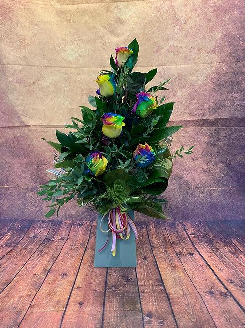 6 Rainbow Rose Flower Bouquet - Handmade Floral Arrangement in Water