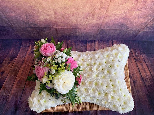 White Flower Funeral Pillow with pink posy Free delivery from the flower shop kirton