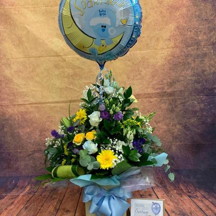 newborn boy aqua flower bouquet.jpg