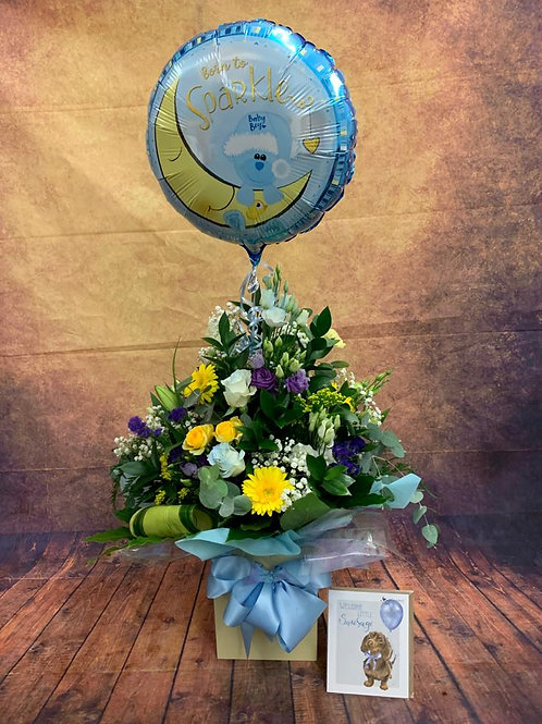 Congratulations It's A Boy ! Aqua Bouquet + Free Wrendale Card + Helium Balloon
