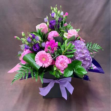 large pink and purple aqua flower bouque