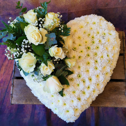 white based solid heart funeral flower tribute with posy.jpg