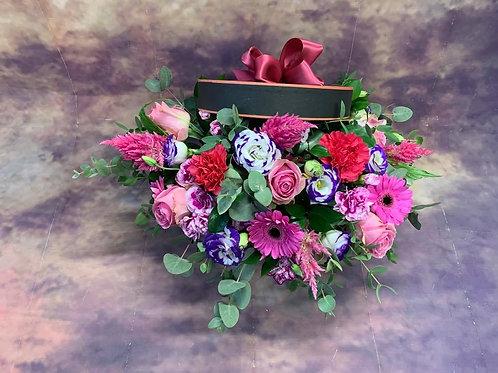 Large Hat Flower Bouquet - Pink Handmade Floral Arrangement