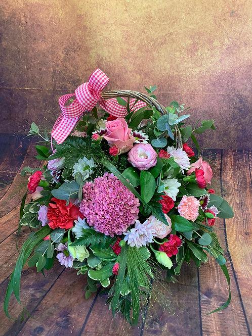 Large Basket Flower Bouquet - Pink Handmade Floral Arrangement