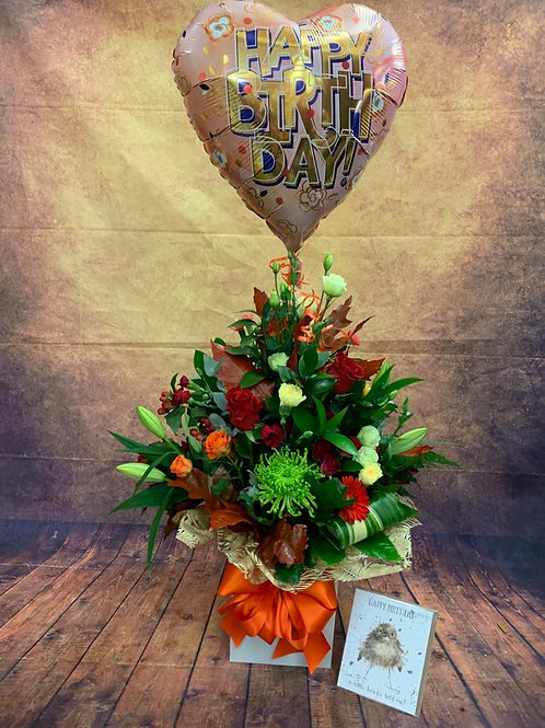 Happy Birthday Flower Bouquet with Free Wrendale Card and Helium Balloon - Handmade Floral Arrangement in Water