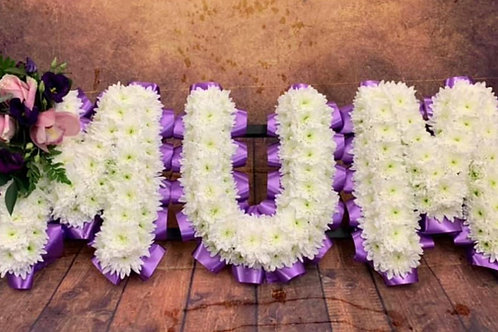 White Funeral flower Letters With Ribbon Free delivery from the flower shop kirton