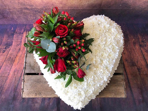Solid White Funeral Heart flower tribute with Red Rose Posy Free delivery from the flower shop kirton