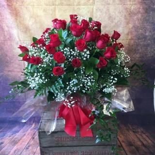 50 red rose aqua flower bouquet
