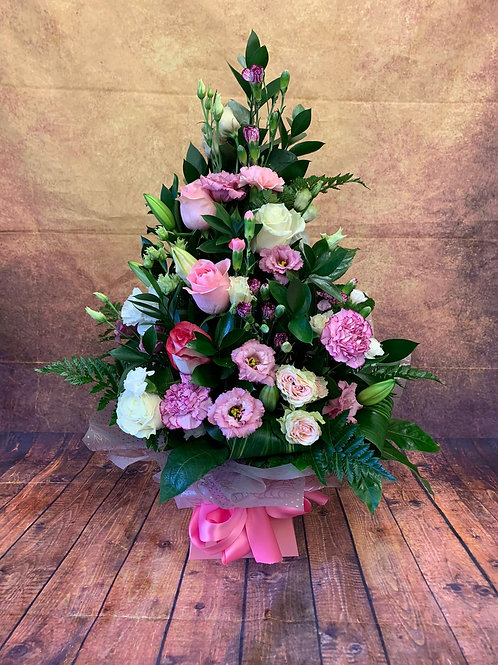 Tall Flower Bouquet - Pink and White - Handmade Floral Arrangement in Water